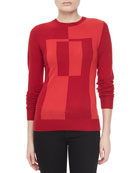 Colorblock Intarsia Crewneck Sweater