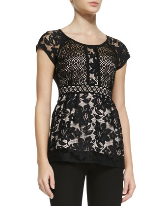 Kiss In The Dark Two-Tone Lace Top