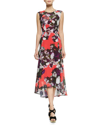 Scarlet Nights Floral-Print High-Low Dress