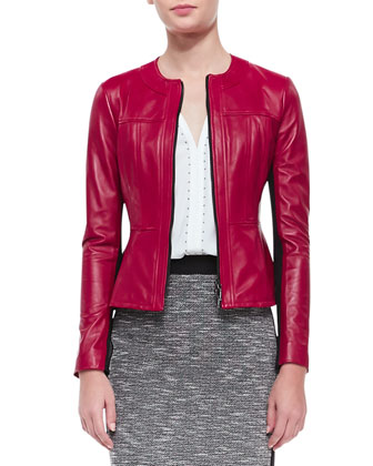 Sugar Leather/Knit Jacket, Lawless Stud-Trim Sleeveless Top & Alluring ...