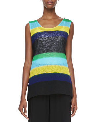Contrast-Colored Striped Knit Tank, Petite