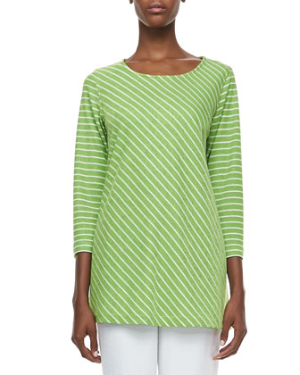 Bias Striped Knit Tunic & Cabo Straight-Leg Pants, Petite