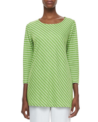Bias Striped Knit Tunic & Cabo Straight-Leg Pants, Women's