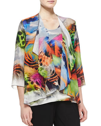 Butterfly-Print Knit Cardigan, Long Knit Tunic/Tank & Stretch-Knit Slim ...