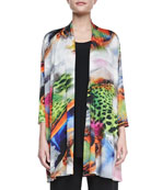 Butterfly-Print Knit Cardigan