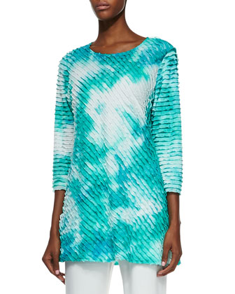 Tie-Dye Ruffle Tunic & Straight-Leg Knit Pants