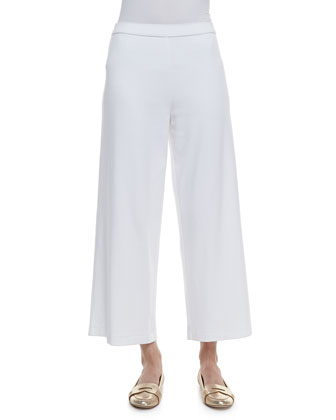 Cotton Interlock Wide-Leg Pants, Petite