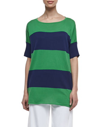 Striped Boxy Sweater & Cotton Interlock Wide-Leg Pants, Petite