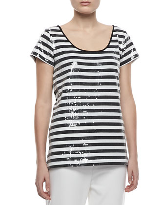 Sequined Striped Short-Sleeve Tee