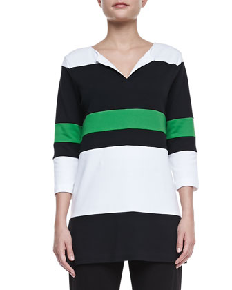 Bold Striped Easy Tunic & Slim Ponte Ankle Pants, Petite