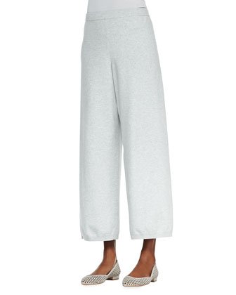 Wide-Leg Knit Pants, Soft Gray