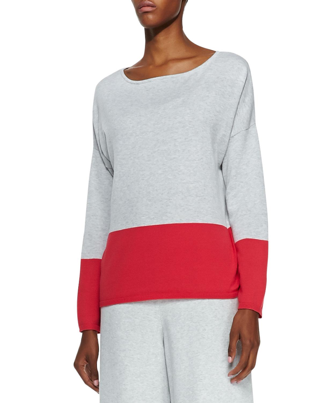 Long Sleeve Colorblocked Cotton Top, Womens   Joan Vass   Watermelon (2X