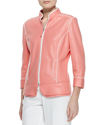 Hollywood Shine Jacket with Piping, Petite