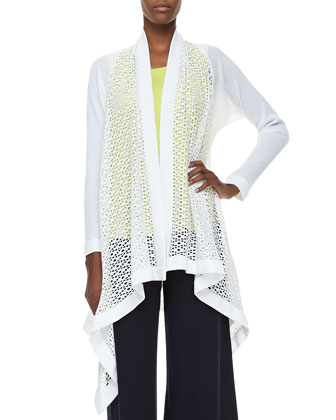 Adeline Long Cascading Cardigan, Amy U-Neck Tank & Palazzo Pants