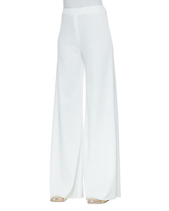White Fit & Knit Palazzo Pants, Petite