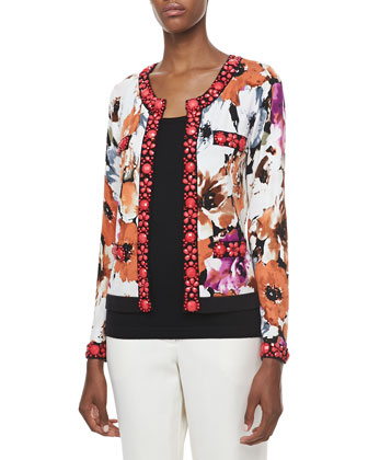Printed Cardigan with Beading & Solid Scoop-Neck Shell