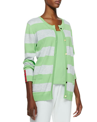 Striped Button-Front Cardigan, Scoop-Neck Cotton Tank & Slim Ponte Ankle Pants