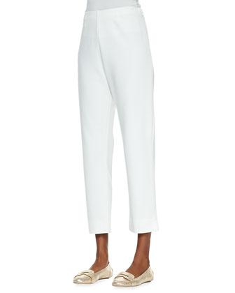 Striped Button-Front Cardigan, Scoop-Neck Cotton Tank & Slim Ponte Ankle Pants