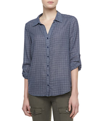 Erven Plaid Tab-Sleeve Blouse