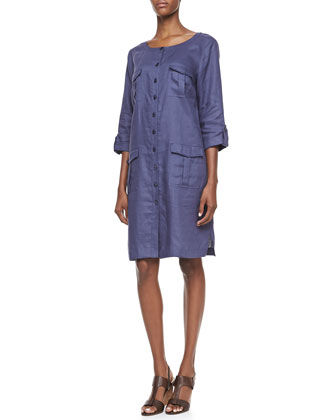 Linen Pocket-Front Shirtdress, Petite