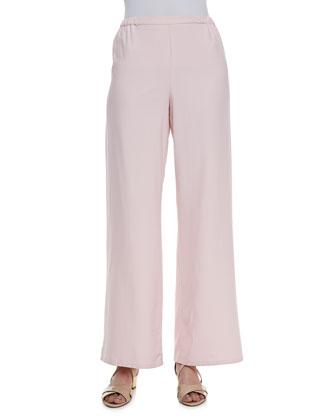 Long-Sleeve Silk Safari Shirt & Wide-Leg Silk Pants, Petite