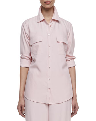 Long-Sleeve Silk Safari Shirt, Petite