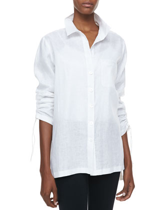 Linen Ruched-Sleeve Big Shirt, Petite