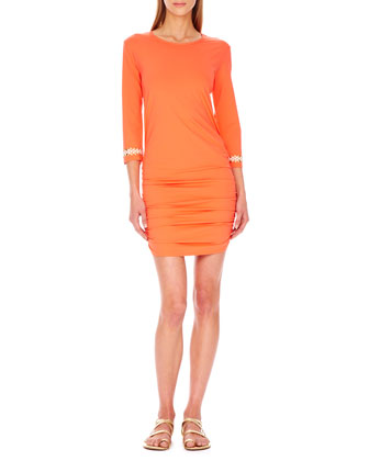 Shirred-Hem Coverup Dress