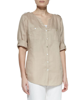 Linen Button-Front Tunic, Women's