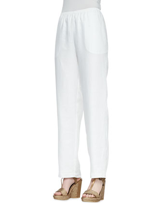 Linen Button-Front Tunic & Straight-Leg Linen Pants, Women's