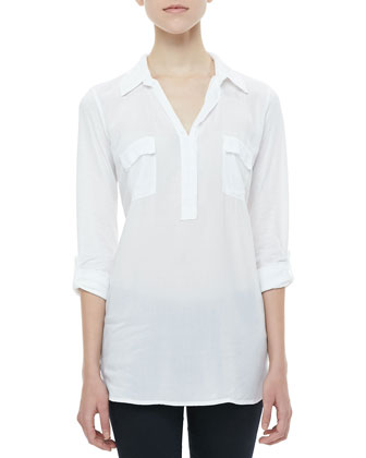 Tab-Sleeve Shirt Tunic, White