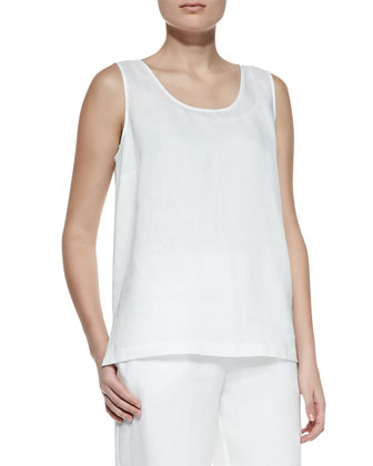 Linen Scoop-Neck Tank, Women's