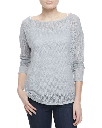 Benton Boat-Neck Mesh Top