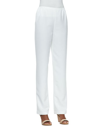 Crepe Golden-Button High-Low Shirt & Shantung Straight-Leg Pants, Women's