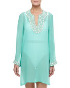 Sheer Embellished Neck & Cuff Coverup Tunic, Sea Green