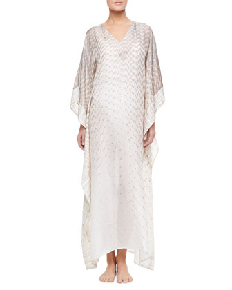 Anantara Long Silk Habutai Coverup Caftan, Pechino