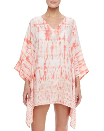 Maritime V-Neck Short Printed Coverup Caftan, Sherbet/White