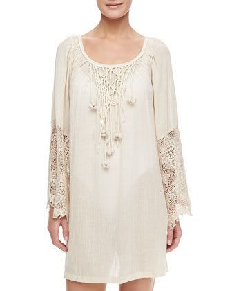 Montage Gauze Lace Sleeve Short Coverup Caftan, Bisque