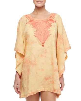 Short Embroidered-Neck Coverup Caftan, Sherbet