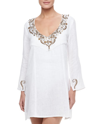 Valencia Embellished V-Neck Coverup Tunic, White