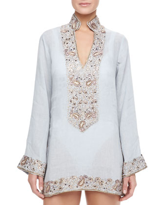 Viceroy Paisley Bead-Embellished Coverup Tunic, Steel