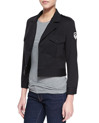 Cropped Field Jacket with Emblem