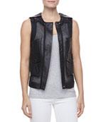 Mesh/Leather Utility Vest