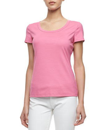 Scoop-Neck Tee, Dahlia