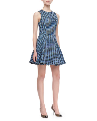 Wavy Cross-Panel Dress, Multicolor