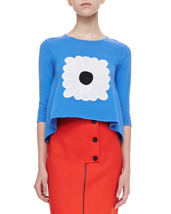 Knit Handkerchief Top with Daisy, Peony Blue