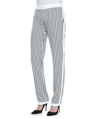 Delia Striped Straight-Leg Trousers