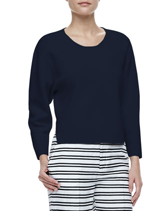 Jill Dropped-Sleeve Sweater & Caldwell Striped Cropped Trousers