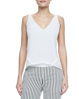 Aiah Cropped Leather Jacket, Lucy Sheer-Back Top & Delia Striped ...