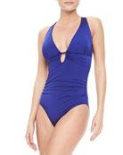 Plunge Cross-Back One-Piece Swimsuit